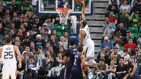 SALT LAKE CITY, UT - MARCH 27: Rudy Gobert #27 of the Utah Jazz dunks against the New Orleans Pelicans during the game on March 27, 2017 at vivint.SmartHome Arena in Salt Lake City, Utah. NOTE TO USER: User expressly acknowledges and agrees that, by downloading and or using this Photograph, User is consenting to the terms and conditions of the Getty Images License Agreement. Mandatory Copyright Notice: Copyright 2017 NBAE (Photo by Melissa Majchrzak/NBAE via Getty Images)