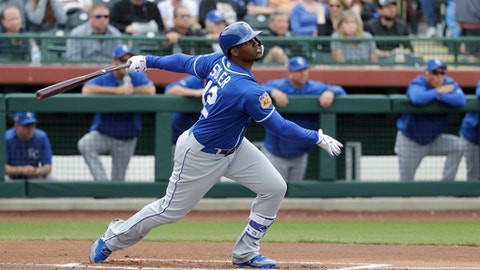FILE - In this March 5, 2017, file photo, Kansas City Royals' Jorge Soler hits during the team's spring training baseball game against the San Francisco Giants in Scottsdale, Ariz. In the offseason, the Royals traded All-Star closer Wade Davis for outfielder Soler. (AP Photo/Darron Cummings, File)