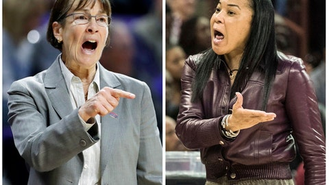 FILE - Stanford head coach Tara VanDerveer, left, directs her players in this March 18, 2017, file photo, in Manhattan, Kan. South Carolina coach Dawn Staley talks to an official in this March 19, 2017, file photo, in Columbia, S.C. The coaches in the women's NCAA Final Four have some interesting connections. Stanford's Tara VanDerveer coached South Carolina's Dawn Staley on a gold medal-winning Olympic team.  (AP Photo/Charlie Riedel, left, Sean Rayford, right)