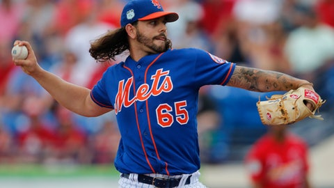 New York Mets starting pitcher Robert Gsellman (65) works in the first inning of a spring training baseball game against the St. Louis Cardinals, Tuesday, March 28, 2017, in Port St. Lucie, Fla. (AP Photo/John Bazemore)