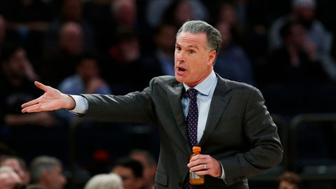 TCU head coach Jamie Dixon gestures against Central Florida during the first half of an NCAA college basketball game in the semifinals of the NIT Tuesday, March 28, 2017, in New York. (AP Photo/Kathy Willens)