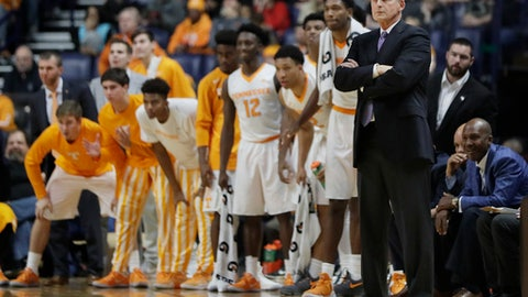 FILE - In this Dec. 18, 2016, file photo, Tennessee head coach Rick Barnes and players watch from the bench in the second half of an NCAA college basketball game against Gonzaga in Nashville, Tenn. Tennessee is the first team since the 2004-05 Iowa squad to have faced every eventual Final Four team during the regular season. (AP Photo/Mark Humphrey, File)