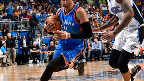 ORLANDO, FL - MARCH 29:  Russell Westbrook #0 of the Oklahoma City Thunder handles the ball against the Orlando Magic on March 29, 2017 at Amway Center in Orlando, Florida. NOTE TO USER: User expressly acknowledges and agrees that, by downloading and or using this photograph, User is consenting to the terms and conditions of the Getty Images License Agreement. Mandatory Copyright Notice: Copyright 2017 NBAE (Photo by Fernando Medina/NBAE via Getty Images)
