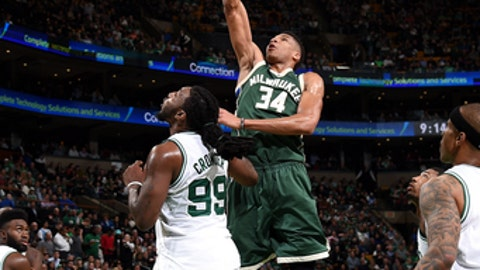 BOSTON, MA - MARCH 29: Giannis Antetokounmpo #34 of the Milwaukee Bucks shoots the ball during the game against the Boston Celtics on March 29, 2017 at TD Garden in Boston, Massachusetts. NOTE TO USER: User expressly acknowledges and agrees that, by downloading and or using this Photograph, user is consenting to the terms and conditions of the Getty Images License Agreement. Mandatory Copyright Notice: Copyright 2017 NBAE (Photo by Brian Babineau/NBAE via Getty Images)