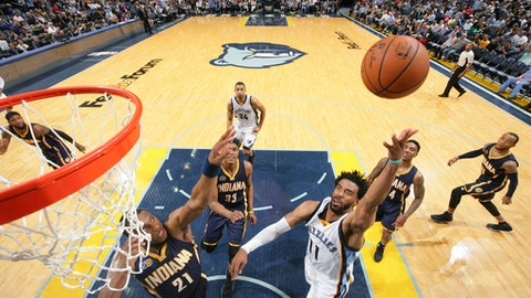 MEMPHIS, TN - MARCH 29:  Mike Conley #11 of the Memphis Grizzlies shoots the ball during a game against the Indiana Pacers on March 29, 2017 at FedExForum in Memphis, Tennessee. NOTE TO USER: User expressly acknowledges and agrees that, by downloading and/or using this photograph, user is consenting to the terms and conditions of the Getty Images License Agreement. Mandatory Copyright Notice: Copyright 2017 NBAE (Photo by Joe Murphy/NBAE via Getty Images)