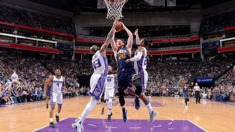 SACRAMENTO, CA - MARCH 29: Gordon Hayward #20 of the Utah Jazz goes for a lay up during the game against the Sacramento Kings on March 29, 2017 at Sleep Train Arena in Sacramento, California. NOTE TO USER: User expressly acknowledges and agrees that, by downloading and or using this photograph, User is consenting to the terms and conditions of the Getty Images Agreement. Mandatory Copyright Notice: Copyright 2017 NBAE (Photo by Rocky Widner/NBAE via Getty Images)