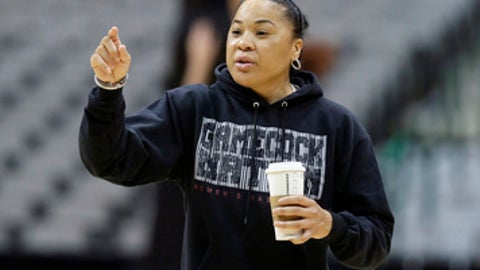 South Carolina head coach Dawn Stanley gives direction to her players during a practice session for the women's NCAA Final Four college basketball tournament, Thursday, March 30, 2017, in Dallas. South Carolina plays Stanford on Friday. (AP Photo/LM Otero)