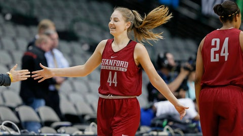 Stanford guard Karlie Samuelson (44) takes part in practice for the women's NCAA Final Four college basketball tournament, Thursday, March 30, 2017, in Dallas. (AP Photo/Tony Gutierrez)