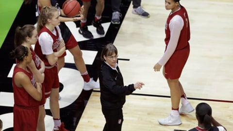 Stanford head coach Tara Vanderveer, center, works with her players during practice for the women's NCAA Final Four college basketball tournament, Thursday, March 30, 2017, in Dallas. (AP Photo/Eric Gay)