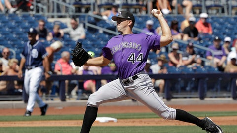 Colorado Rockies' Tyler Anderson throws during the first inning of a spring training baseball game against the San Diego Padres, Thursday, March 30, 2017, in Peoria, Ariz. (AP Photo/Darron Cummings)