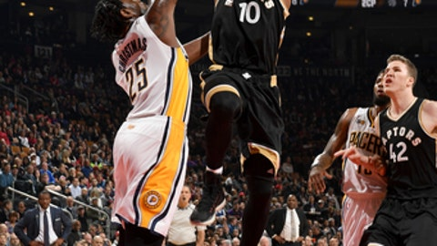 TORONTO, CANADA - MARCH 31:  DeMar DeRozan #10 of the Toronto Raptors goes to the basket against the Indiana Pacers on March 31, 2017 at the Air Canada Centre in Toronto, Ontario, Canada.  NOTE TO USER: User expressly acknowledges and agrees that, by downloading and or using this Photograph, user is consenting to the terms and conditions of the Getty Images License Agreement.  Mandatory Copyright Notice: Copyright 2017 NBAE (Photo by Ron Turenne/NBAE via Getty Images)