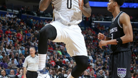 NEW ORLEANS, LA - MARCH 31:  DeMarcus Cousins #0 of the New Orleans Pelicans goes to the basket against the Sacramento Kings on March 31, 2017 at the Smoothie King Center in New Orleans, Louisiana. NOTE TO USER: User expressly acknowledges and agrees that, by downloading and or using this Photograph, user is consenting to the terms and conditions of the Getty Images License Agreement. Mandatory Copyright Notice: Copyright 2017 NBAE (Photo by Layne Murdoch Jr./NBAE via Getty Images)