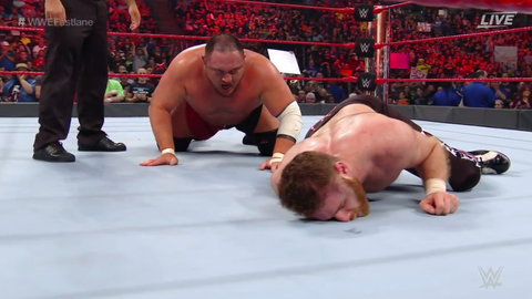 Samoa Joe defeated Sami Zayn by submission