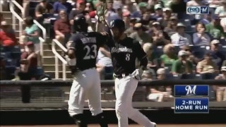 WATCH: Braun, Pina hit first home runs of spring training
