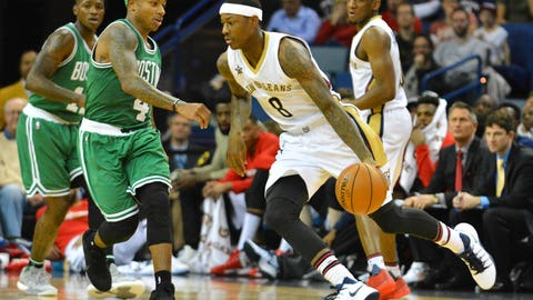 Nov 14, 2016; New Orleans, LA, USA;  New Orleans Pelicans guard Archie Goodwin (8) handles the ball during the second half of the game against the Boston Celtics at the Smoothie King Center. New Orleans won 106-105. Mandatory Credit: Matt Bush-USA TODAY Sports