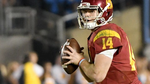 Nov 19, 2016; Pasadena, CA, USA;  USC Trojans quarterback Sam Darnold (14) sets up to pass the football in the second half against the UCLA Bruins at the Rose Bowl. Mandatory Credit: Jayne Kamin-Oncea-USA TODAY Sports