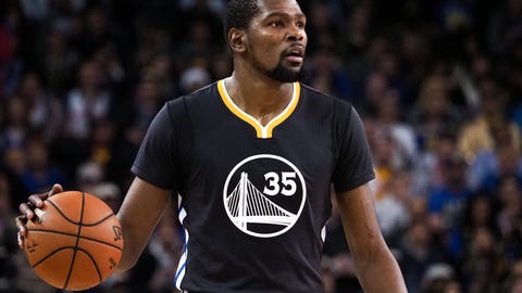 Nov 26, 2016; Oakland, CA, USA; Golden State Warriors forward Kevin Durant (35) controls the ball against the Minnesota Timberwolves during the fourth quarter at Oracle Arena. The Golden State Warriors defeated the Minnesota Timberwolves 115-102. Mandatory Credit: Kelley L Cox-USA TODAY Sports