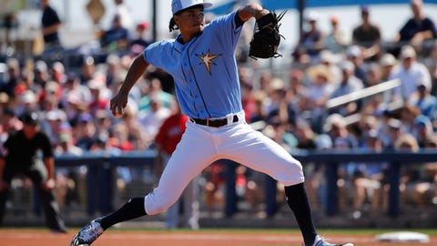Feb 26, 2017; Port Charlotte, FL, USA; Tampa Bay Rays starting pitcher Chris Archer (22) throws a pitch during the first inning against the Boston Red Sox at Charlotte Sports Park. Mandatory Credit: Kim Klement-USA TODAY Sports