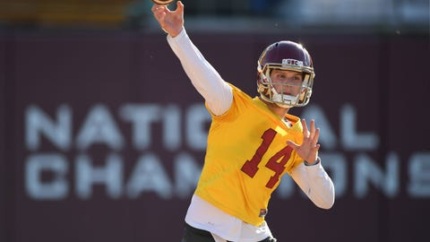 Mar 7, 2017; Los Angeles, CA, USA; Southern California Trojans quarterback Sam Darnold (14) throws a pass during spring practice at Howard Jones Field. Mandatory Credit: Kirby Lee-USA TODAY Sports