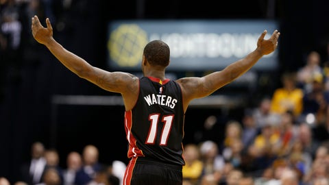 Mar 12, 2017; Indianapolis, IN, USA; Miami Heat guard Dion Waiters (11) reacts after Miami scores a basket against the Indiana Pacers at Bankers Life Fieldhouse. Indiana defeats Miami 102-98. Mandatory Credit: Brian Spurlock-USA TODAY Sports