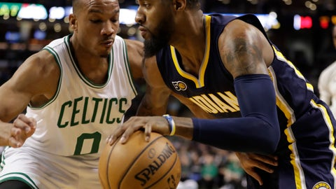 Mar 22, 2017; Boston, MA, USA; Indiana Pacers forward Paul George (13) works the ball against Boston Celtics guard Avery Bradley (0) in the first quarter at TD Garden. Mandatory Credit: David Butler II-USA TODAY Sports