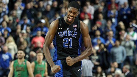 Mar 11, 2017; Brooklyn, NY, USA; Duke Blue Devils forward Amile Jefferson (21) celebrates during the second half of the ACC Conference Tournament final against the Notre Dame Fighting Irish at Barclays Center. Mandatory Credit: Brad Penner-USA TODAY Sports