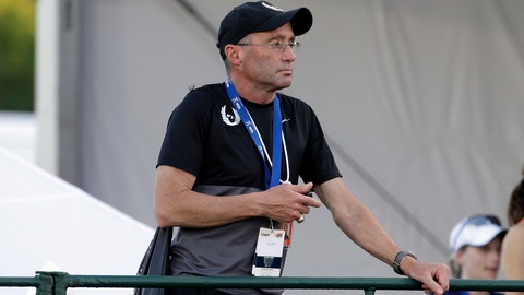 Alberto Salazar is shown during the 10,000 meters race at the U.S. Track and Field Championships in Eugene, Ore., Thursday, June 25, 2015. (AP Photo/Don Ryan)