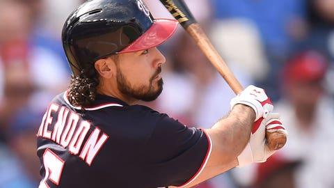 WASHINGTON, DC - SEPTEMBER 11:  Anthony Rendon #6 of the Washington Nationals doubles in the seventh inning to score Bryce Harper #34 (not pictured) in the seventh inning during a baseball game against the Philadelphia Phillies at Nationals Park on September 11, 2016 in Washington, DC.  (Photo by Mitchell Layton/Getty Images)