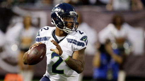 Seattle Seahawks quarterback Trevone Boykin (2) looks to throw against the Oakland Raiders during the first half of a preseason NFL football game Thursday, Sept. 1, 2016, in Oakland, Calif. (AP Photo/Ben Margot)