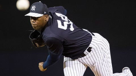New York Yankees pitcher Aroldis Chapman during a spring training baseball game against the Baltimore Orioles Thursday, March 2, 2017, in Tampa, Fla. (AP Photo/Matt Rourke)