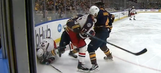 Blue Jackets' Cam Atkinson narrowly avoids disastrous skate to the face