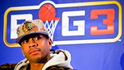 "Former NBA player Allen Iverson listens during a press conference launching the ""BIG3, a 3-on-3 half-court professional basketball league for retired players, Wednesday Jan. 11, 2017, in New York. Iverson will coach a team and play in the new league.  (AP Photo/Bebeto Matthews)"