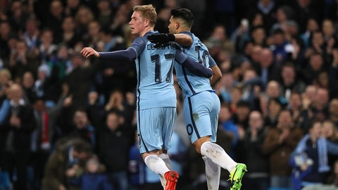 MANCHESTER, ENGLAND - FEBRUARY 21:  Sergio Aguero of Manchester City celebrates with Kevin De Bruyne after scoring his team's second goal to make the score 2-2 during the UEFA Champions League Round of 16 first leg match between Manchester City FC and AS Monaco at Etihad Stadium on February 21, 2017 in Manchester, United Kingdom.  (Photo by Matthew Ashton - AMA/Getty Images)
