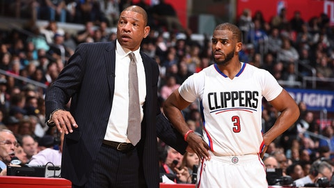 LOS ANGELES, CA - FEBRUARY 24:  Doc Rivers and Chris Paul #3 of the LA Clippers are seen during the game against the San Antonio Spurs on February 24, 2017 at STAPLES Center in Los Angeles, California. NOTE TO USER: User expressly acknowledges and agrees that, by downloading and/or using this Photograph, user is consenting to the terms and conditions of the Getty Images License Agreement. Mandatory Copyright Notice: Copyright 2017 NBAE (Photo by Andrew D. Bernstein/NBAE via Getty Images)