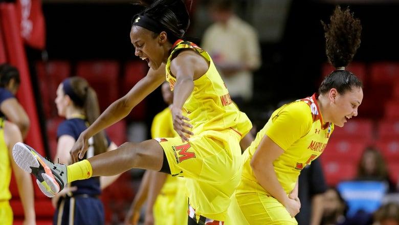 WATCH: Maryland's Destiny Slocum makes incredible overhead buzzer beater