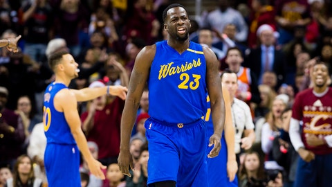 CLEVELAND, OH - DECEMBER 25: Draymond Green #23 of the Golden State Warriors reacts after a call during the first half against the Cleveland Cavaliers at Quicken Loans Arena on December 25, 2016 in Cleveland, Ohio. NOTE TO USER: User expressly acknowledges and agrees that, by downloading and/or using this photograph, user is consenting to the terms and conditions of the Getty Images License Agreement. Mandatory copyright notice. (Photo by Jason Miller/Getty Images)