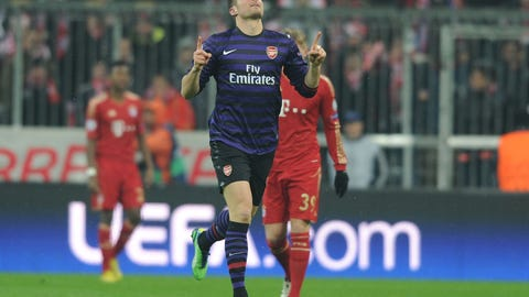 2012/13: Bayern 3, Arsenal 3 (Bayern win on away goals)