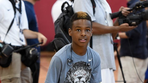 LAS VEGAS, NV - AUGUST 12:  LeBron James Jr., son of LeBron James #27 of the 2015 USA Basketball Men's National Team, shoots during a practice session at the Mendenhall Center on August 12, 2015 in Las Vegas, Nevada.  (Photo by Ethan Miller/Getty Images)