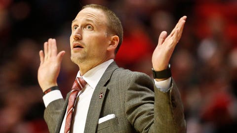 Illinois State coach Dan Muller looks on from the sideline in the first half of a NCAA college basketball game against the San Diego State, Friday, Nov. 13, 2015, in San Diego. (AP Photo/Lenny Ignelzi)