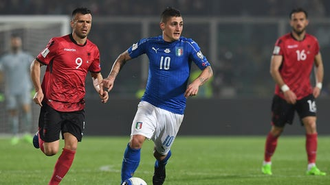 PALERMO, ITALY - MARCH 24:  Marco Verratti (R) of Italy in action against Ledian Memushaj of Albania during the FIFA 2018 World Cup Qualifier between Italy and Albania at Stadio Renzo Barbera on March 24, 2017 in Palermo, Italy.  (Photo by Valerio Pennicino/Getty Images)