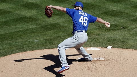 TEMPE, AZ - MARCH 06:  Jake Arrieta #49 of the Chicago Cubs pitches in the first inning Los Angeles Angels during the spring training game at Tempe Diablo Stadium on March 6, 2017 in Tempe, Arizona.  (Photo by Tim Warner/Getty Images)