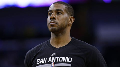NEW ORLEANS, LA - MARCH 03:  LaMarcus Aldridge #12 of the San Antonio Spurs reacts during a game against the New Orleans Pelicans at the Smoothie King Center on March 3, 2017 in New Orleans, Louisiana. NOTE TO USER: User expressly acknowledges and agrees that, by downloading and or using this photograph, User is consenting to the terms and conditions of the Getty Images License Agreement.  (Photo by Jonathan Bachman/Getty Images)