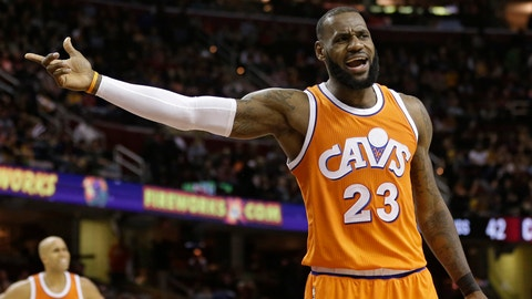 Cleveland Cavaliers' LeBron James argues a call in the second half of an NBA basketball game against the Chicago Bulls, Wednesday, Jan. 4, 2017, in Cleveland. (AP Photo/Tony Dejak)