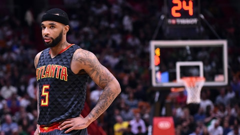 Feb 1, 2017; Miami, FL, USA; Atlanta Hawks guard Malcolm Delaney (5) takes a breather during the second half against the Miami Heat at American Airlines Arena. The Heat won 116-93. Mandatory Credit: Steve Mitchell-USA TODAY Sports