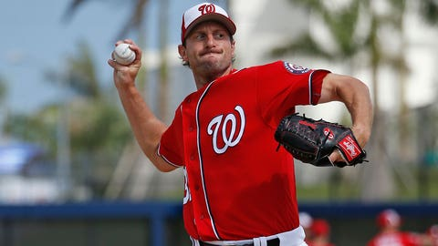 WEST PALM BEACH, FL - MARCH 7: Max Scherzer #31 of the Washington Nationals throws the ball during a morning workout prior to the spring training game against the Boston Red Sox at The Ballpark of the Palm Beaches on March 7, 2017 in West Palm Beach, Florida. (Photo by Joel Auerbach/Getty Images)