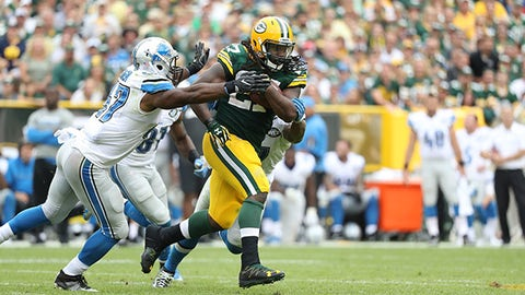 Green Bay Packers running back Eddie Lacy (27) runs with the ball during an NFL football game between the Green Bay Packers and the Detroit Lions Sunday, September 25, 2016, in Green Bay,  WI.  (Tom Hauck via AP)