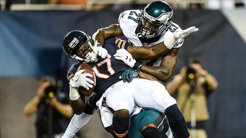 CHICAGO, IL - SEPTEMBER 19:  Alshon Jeffery #17 of the Chicago Bears makes the catch against  Jalen Mills #31 and  Malcolm Jenkins #27 of the Philadelphia Eagles in the first half at Soldier Field on September 19, 2016 in Chicago, Illinois.  (Photo by Stacy Revere/Getty Images)