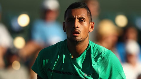 INDIAN WELLS, CA - MARCH 12:  Nick Kyrgios of Australia walks back to serve against Horacio Zeballos of Argentia in their second round match during day seven of the BNP Paribas Open at Indian Wells Tennis Garden on March 12, 2017 in Indian Wells, California.  (Photo by Clive Brunskill/Getty Images)