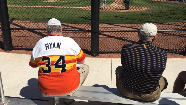 Fan wearing Nolan Ryan jersey has no idea he's two feet from Nolan Ryan