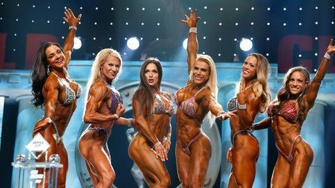 Fitness winner Oksana Grishina (3rd from left)